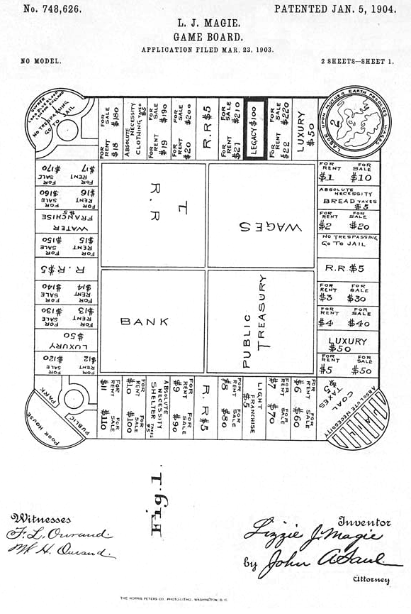Elizabeth Maggie Monopoly patent